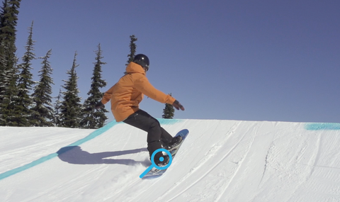 Take off for a Frontside 540 in a snowboard