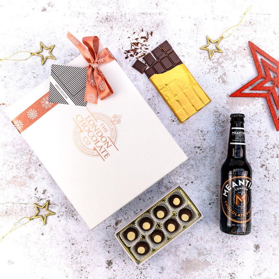 Beer and chocolate hamper gift box