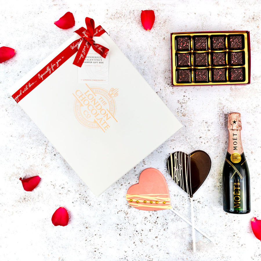 valentines chocolate and champagne hamper