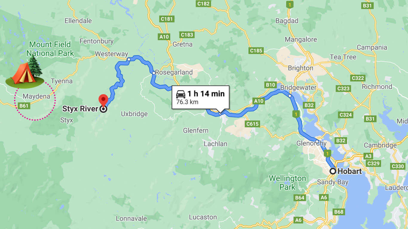 Noelle's Woodland Travel Guide - Road Trip from Hobart to Styx Valley Map