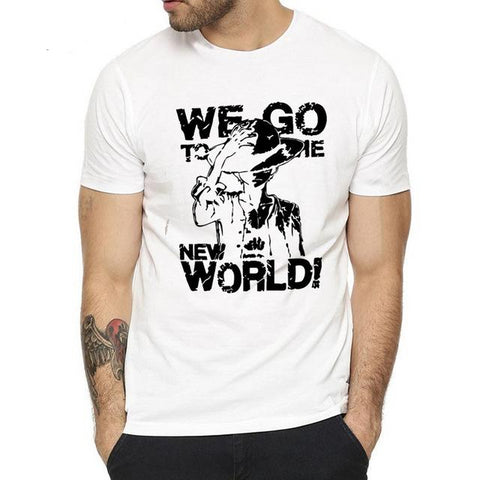 T-Shirt One Piece We Go To The New World - Luffy-Shops