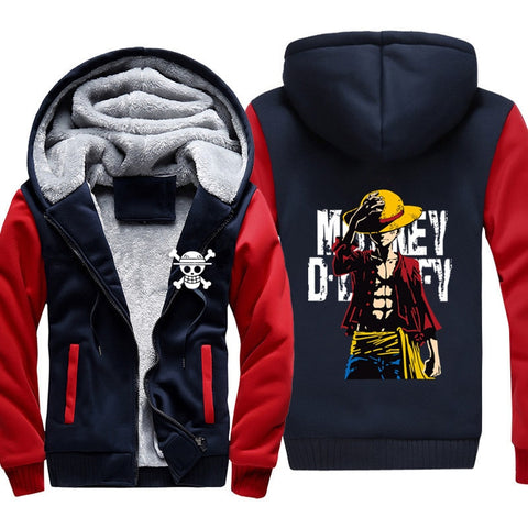 Veste Polaire One Piece Monkey D Luffy ( Bleu et Rouge ) - Luffy-Shops