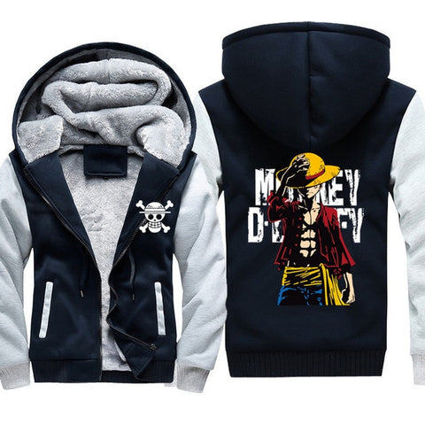 Veste Polaire One Piece Monkey D Luffy ( Bleu et Blanc ) - Luffy-Shops