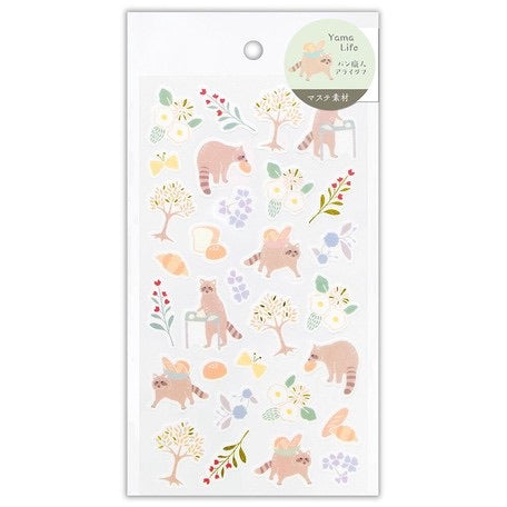 Yama-Life Washi Paper Sticker - Mountain Life Raccoon