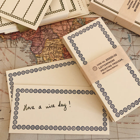 Letterpress Memo Cards - Blue
