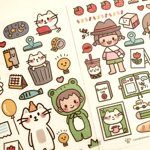 Telado Girl Washi Sticker Set - Green Field