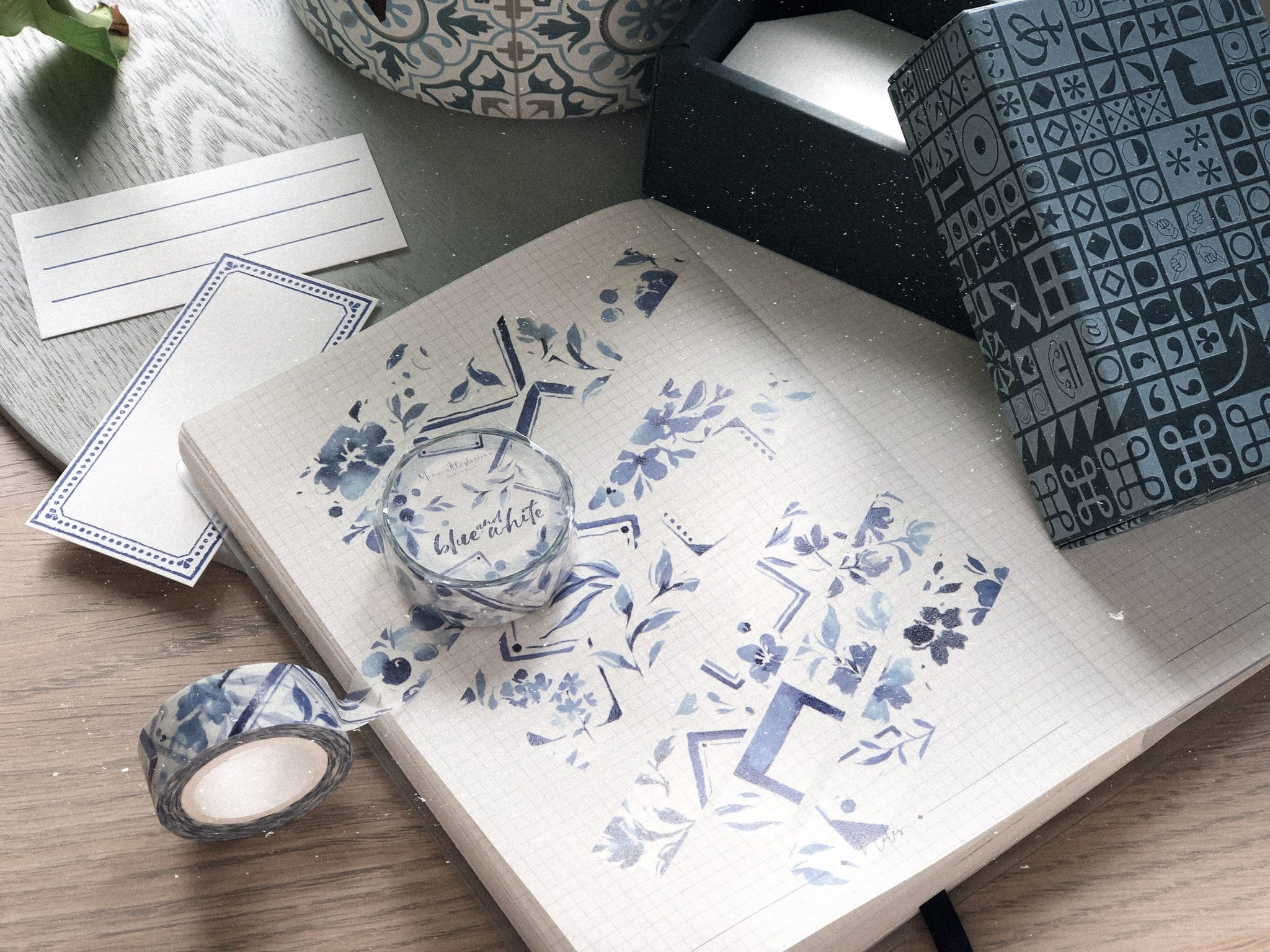 Meow Illustration Washi Tape - Blue & White