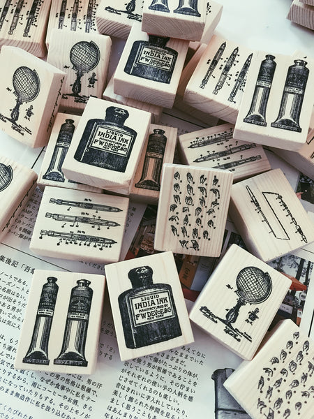 Watercolor Brush Rubber Stamp