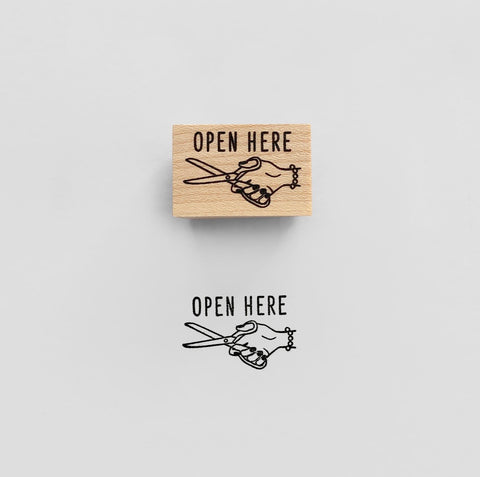OPEN HERE Rubber Stamp スタンプ