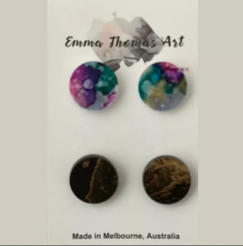 Emma Thomas Art- Hand-painted Studs (Two pairs per card)