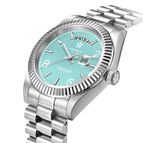 "8FIVE2 Watch ""ALL DAY"" 3B Silver/Baby Blue"