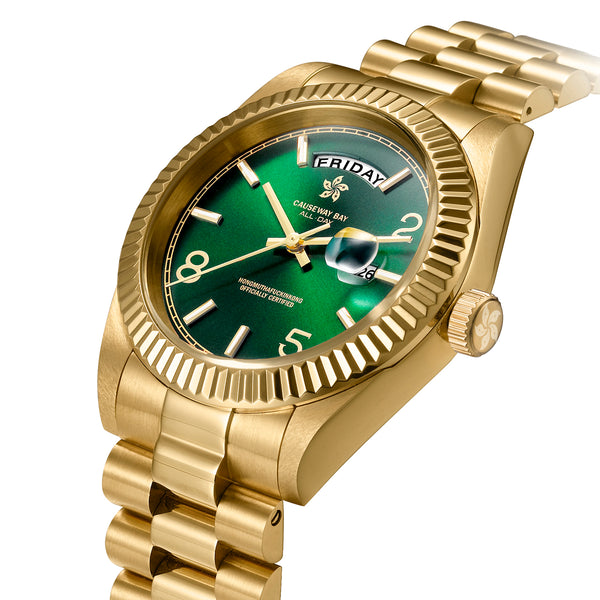 "8FIVE2 Watch ""ALL DAY"" Gold/Green"