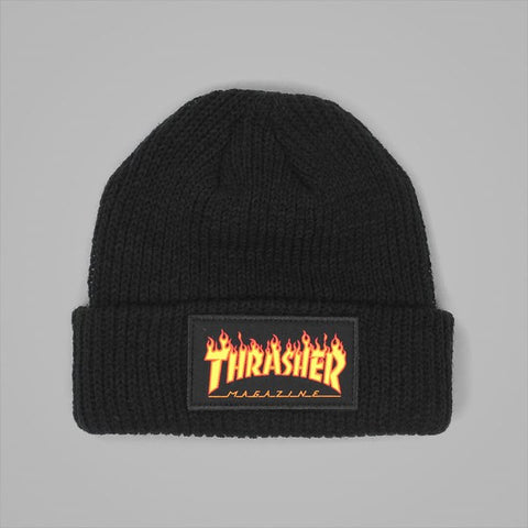 Thrasher Flame Beanie - Black