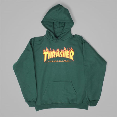 Thrasher Flame Hoody Forest  Green