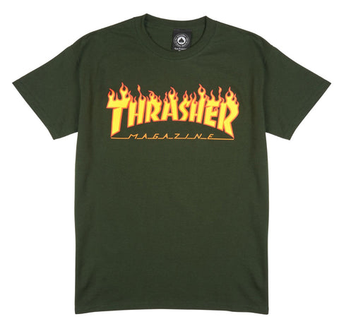 Thrasher Flame S/S Tee Forest Green