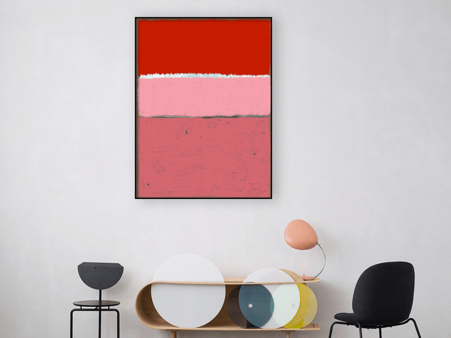Paysage rose rouge, peinture abstraite style Rothko - Œuvres d'art  artiste peintre Ludwig Mario  galerie TACT Art abstrait & contemporain