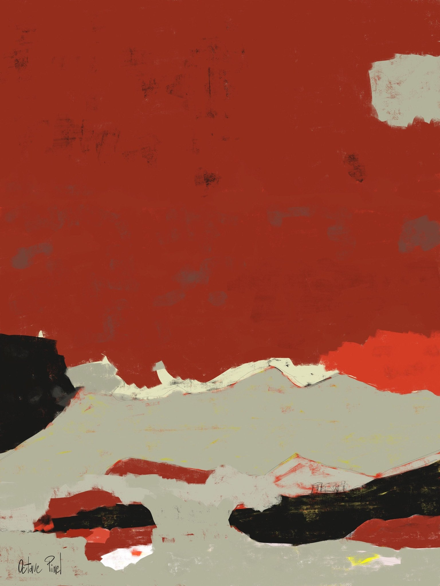 Provence tableau abstrait rouge ocre galerie tact for Tableau minimaliste