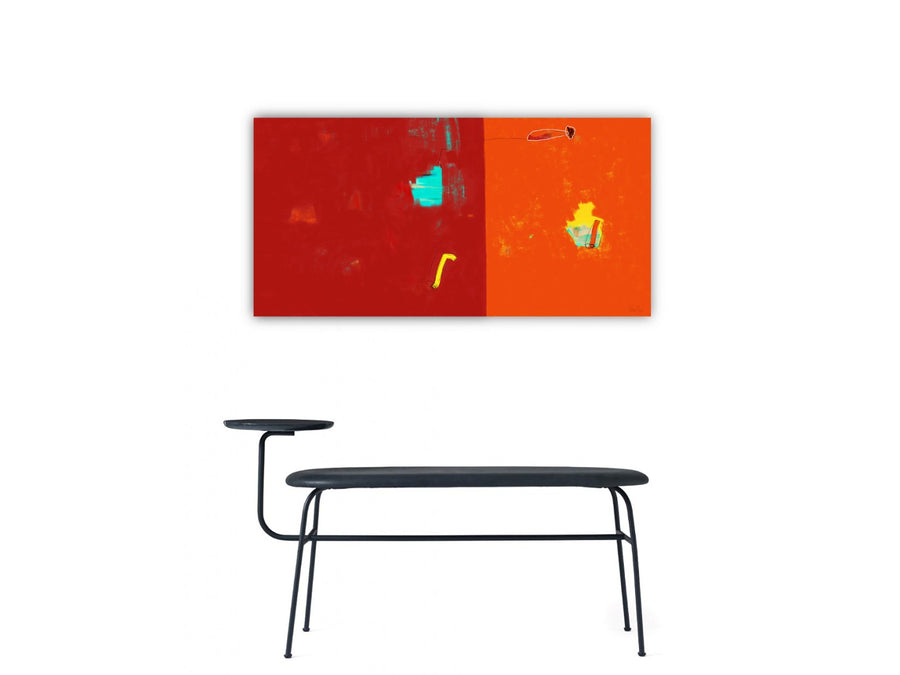 My Dreamscape tableau abstrait Bicolore rouge orange - Tableau abstrait  artiste peintre Octave Pixel  galerie TACT Art abstrait & contemporain