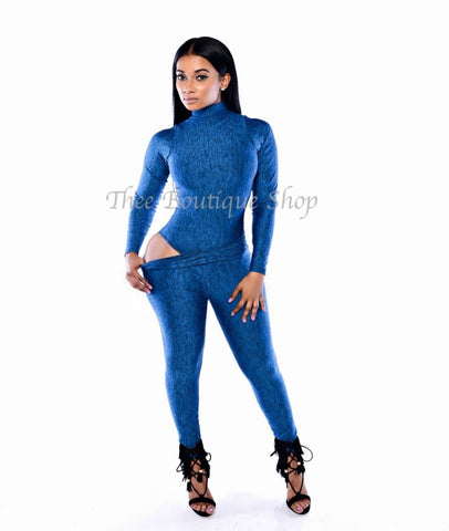 The Mystique Bodysuit Joggers Set (Azul)