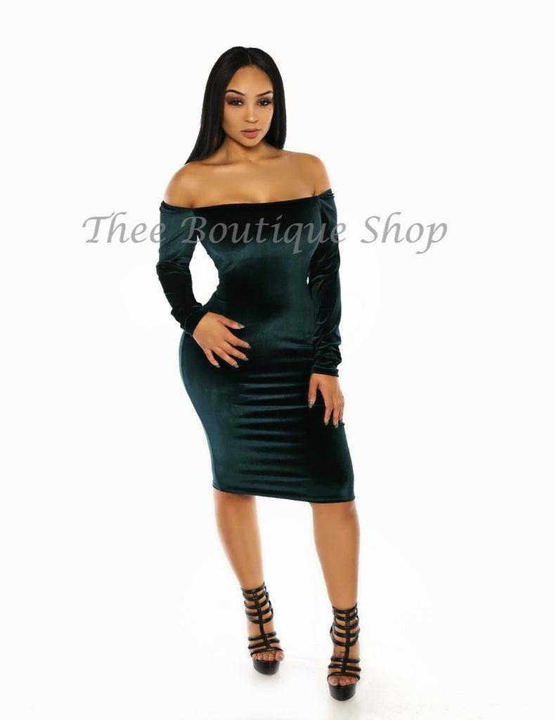 The Classic Winter Plush Off The Shoulder Dress (Forest)