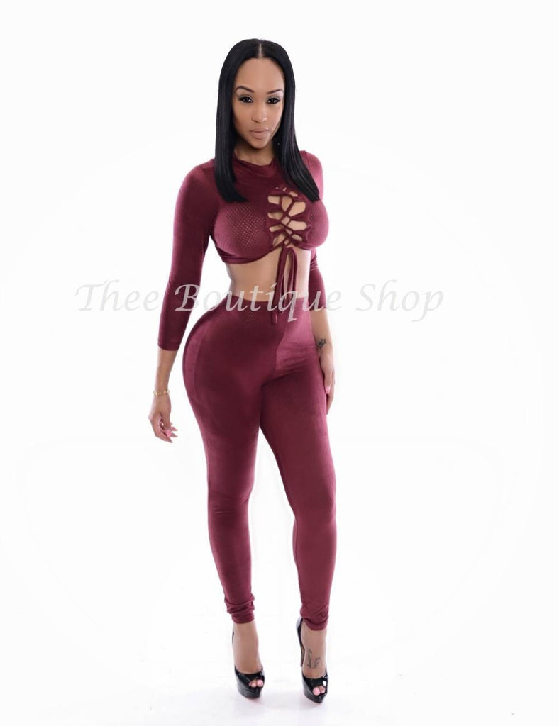 The Arizona Leather Lace Up Leggings Set (Burgundy) - Thee Boutique Shop