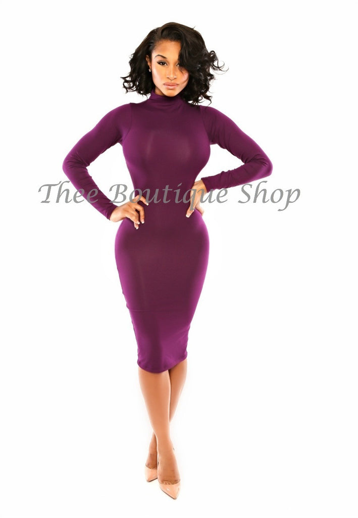 The Classic Fall Body-Con Dress (Eggplant) - Thee Boutique Shop
