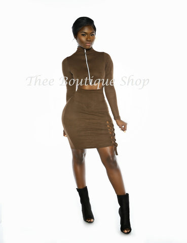 The Bodacious Allure Lace Up Set (Chocolate Suede)
