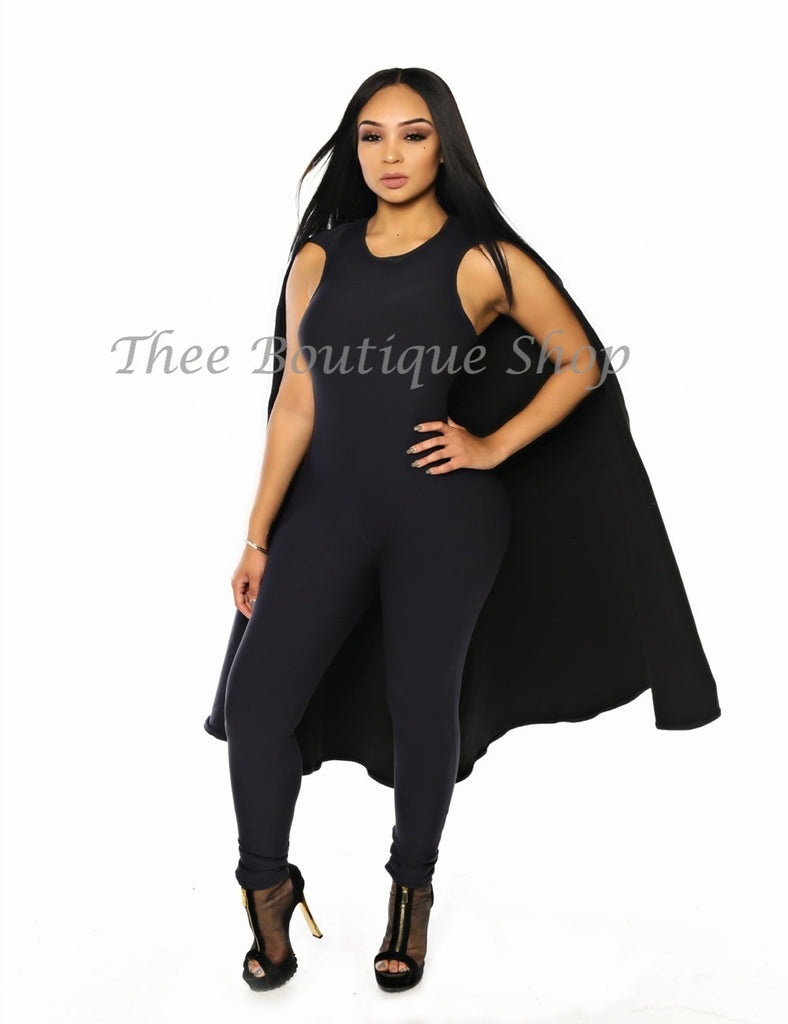 The Classic Fall Capelet Jumpsuit (Noir)