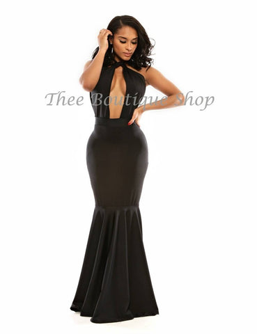 The Classic Twist Halter Mermaid Dress (Noir)