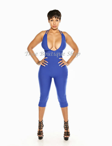 The Indulgent Halter Capri Jumpsuit (Azul)