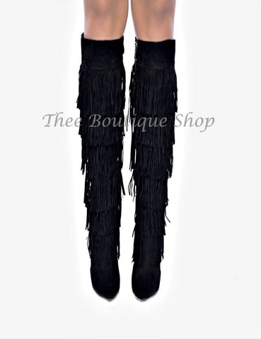 Blake Knee High Fringe Boot