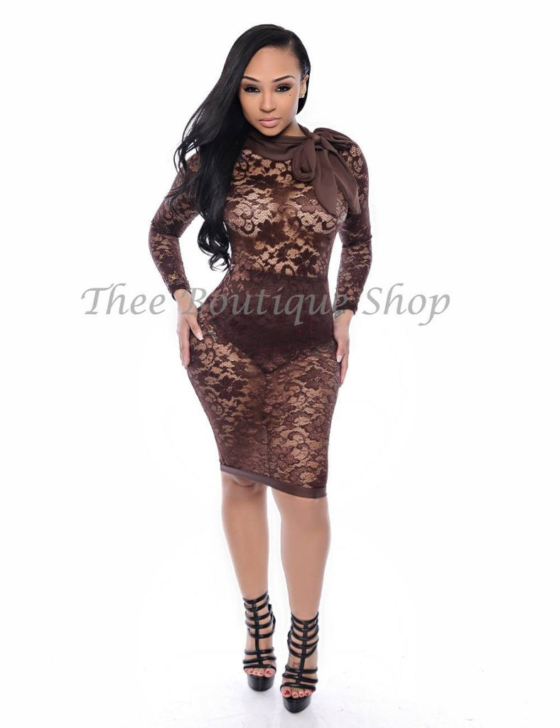The Bel-Air Lavish Lace Dress (Chocolate) - Thee Boutique Shop