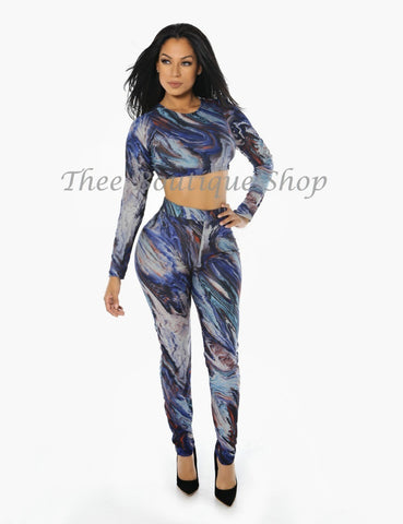 The Azul Marble Leggings Set
