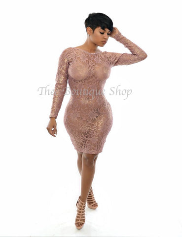 The Risque' Metallic Lace Dress