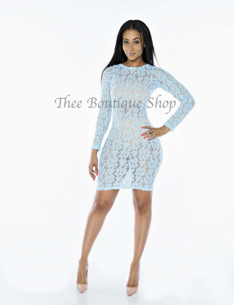 The Moulin Lace Dress (Baby Blue)