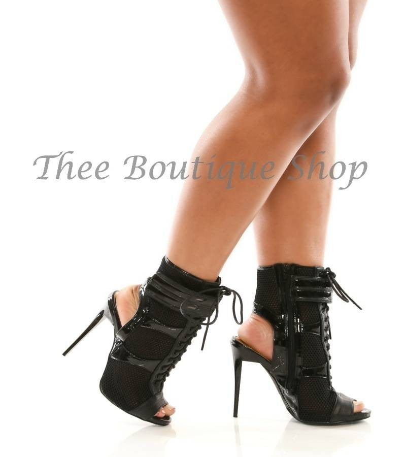 The Mia-Sports Net Booties (Black)