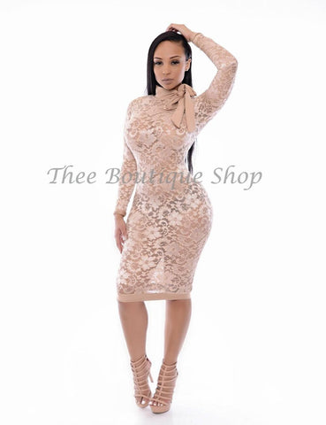 The Bel-Air Lavish Lace Dress (Nude)