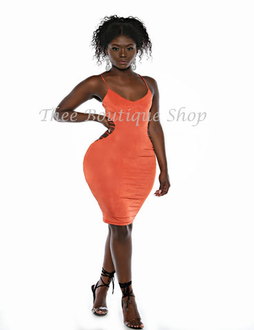 The Desert Orange Linear Strap Dress