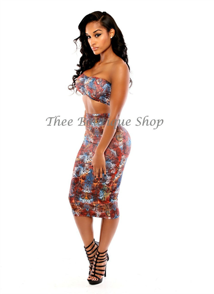 The Bleu Python Midi Set - Thee Boutique Shop