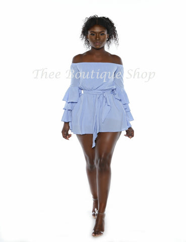 The Spring Valley Flare Romper (Powder Blue)