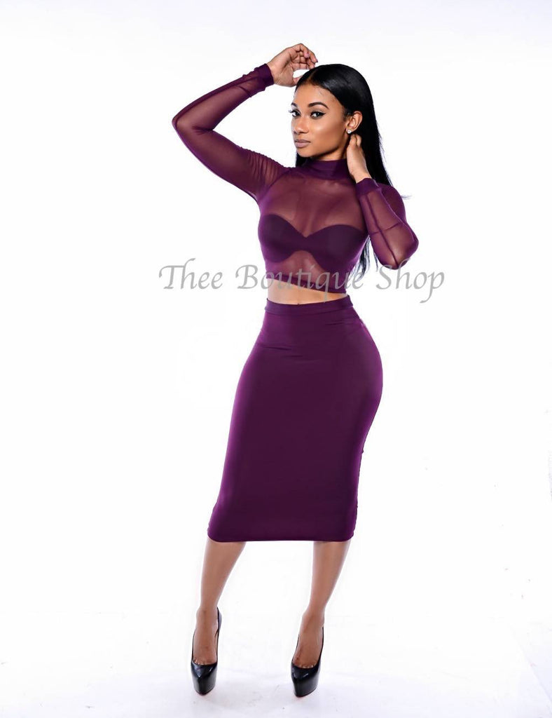 The Bella Sheer Illusions Set (Plum) - Thee Boutique Shop