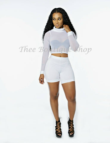 The Bella Sheer Illusions Shorts Set (White)