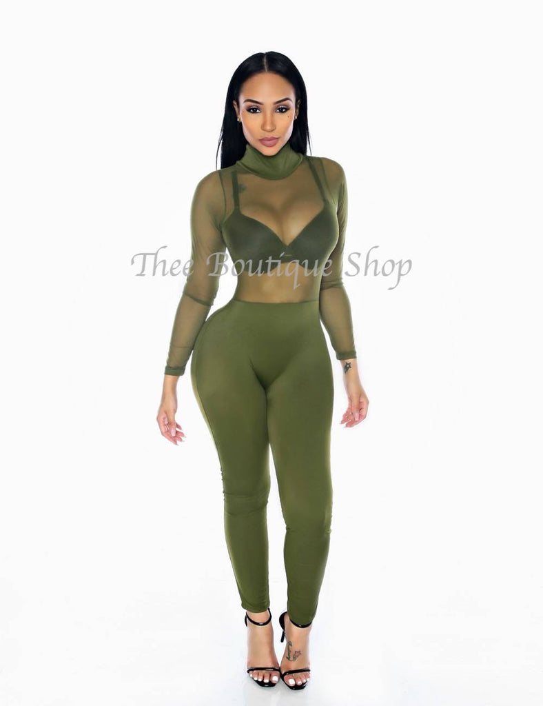 The Bella Sheer Illusions Jumpsuit (Olive) - Thee Boutique Shop