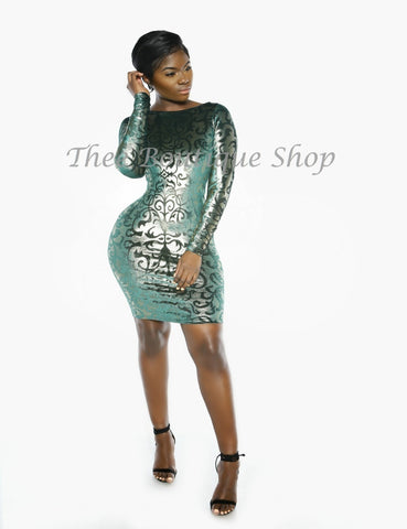 The Winter Nouveau Plush Dress (Verde)