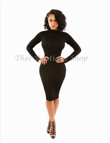 The Classic Fall Body-Con Dress (Noir)