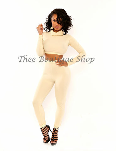 The Classic Turtle Neck Leggings Set (Cream)