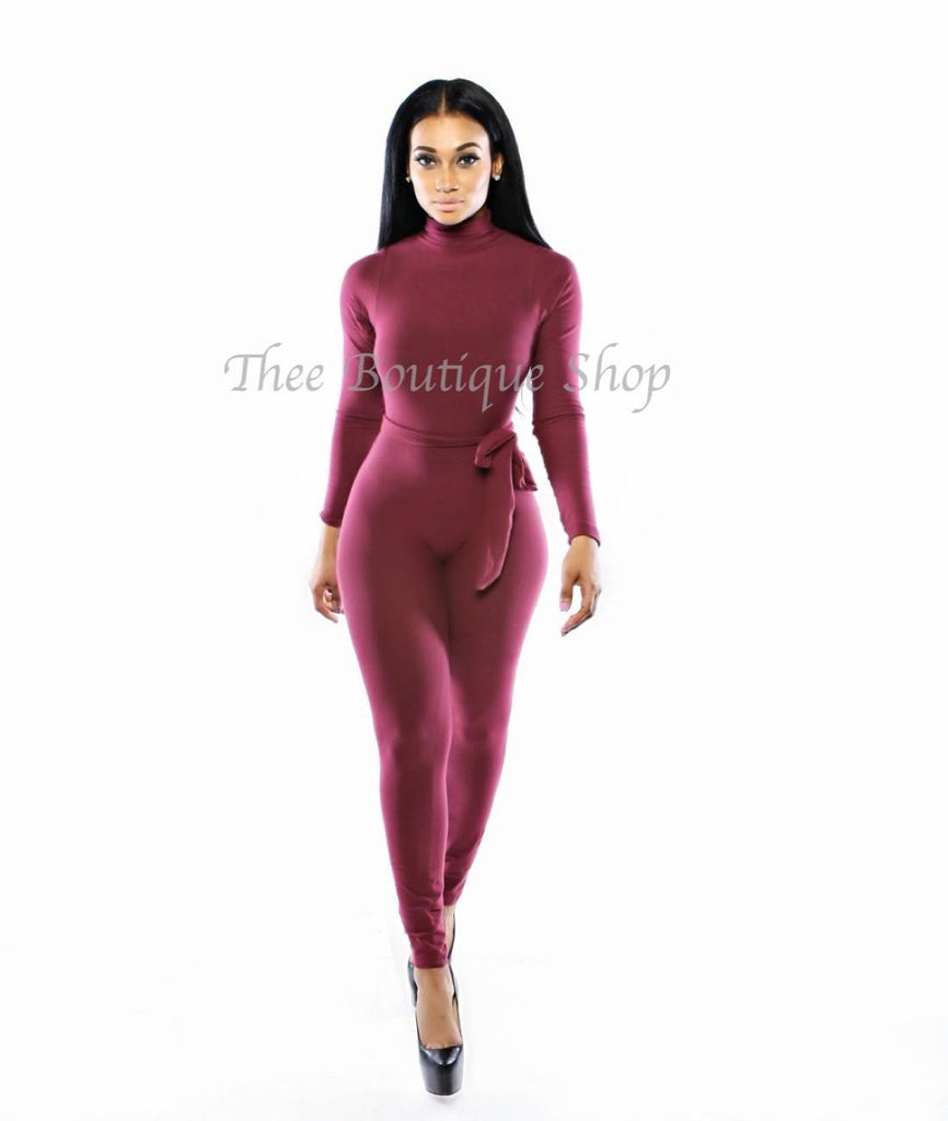 The Classic Turtleneck Jumpsuit (Maroon)