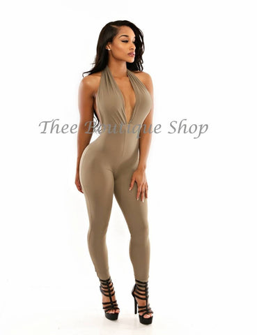 The Classic Spring Halter Jumpsuit (Cement)