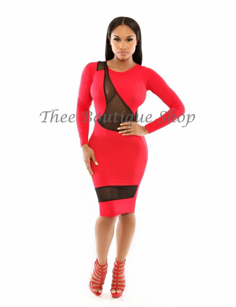 The Continental Illusions Body-Con Dress (Rouge)