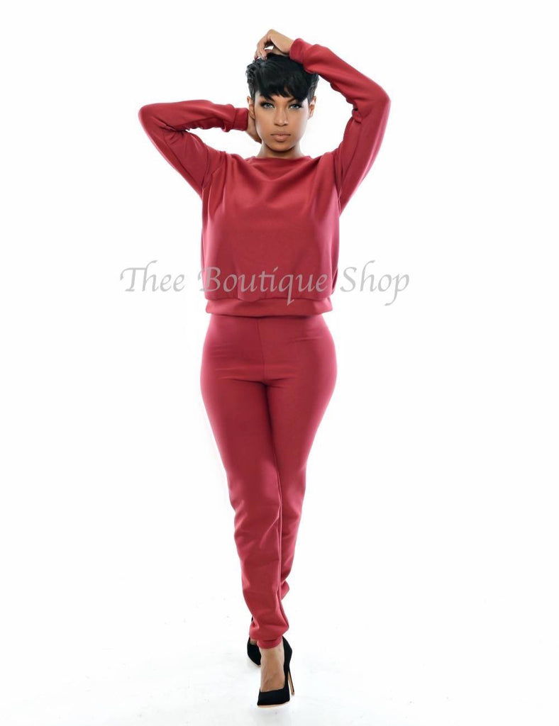 The Classic Fall Joggers Set (Burgundy) - Thee Boutique Shop